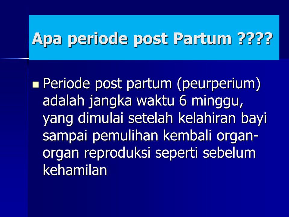 Apa periode post Partum ???? Periode post partum (peurperium) adalah jangka waktu 6 minggu, yang dimulai setelah kelahiran bayi sampai pemulihan kemba