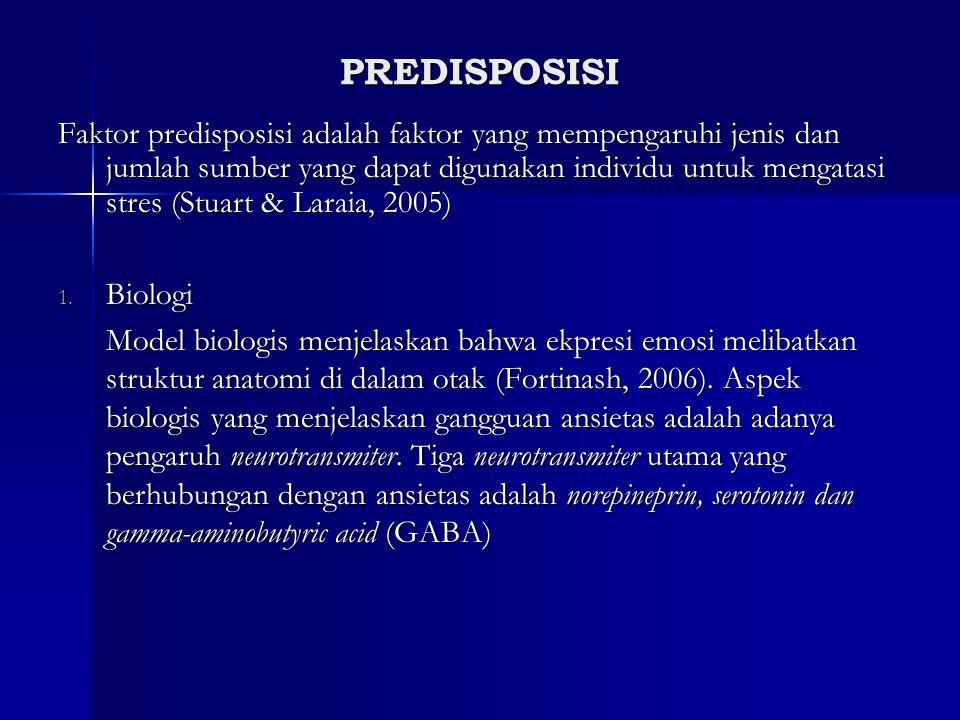 PREDISPOSISI Faktor predisposisi adalah faktor yang mempengaruhi jenis dan jumlah sumber yang dapat digunakan individu untuk mengatasi stres (Stuart &