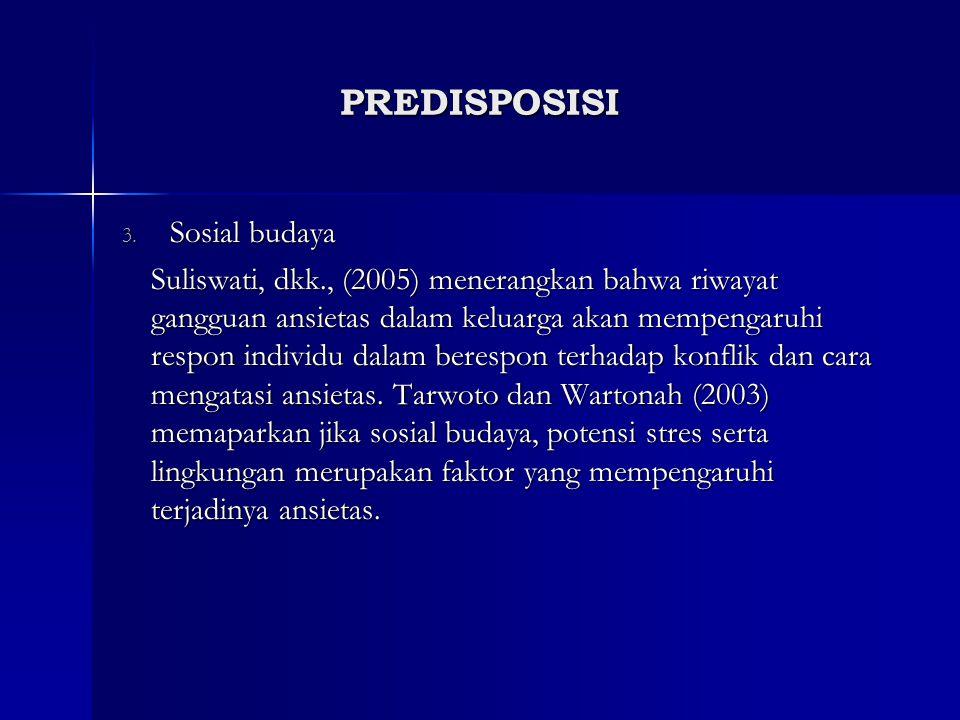 3. Sosial budaya Suliswati, dkk., (2005) menerangkan bahwa riwayat gangguan ansietas dalam keluarga akan mempengaruhi respon individu dalam berespon t