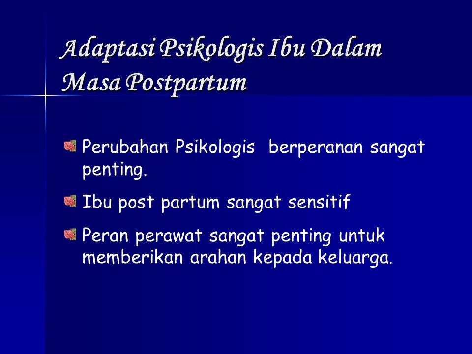 A daptasi Psikologis Ibu Dalam Masa Postpartum Perubahan Psikologis berperanan sangat penting. Ibu post partum sangat sensitif Peran perawat sangat pe
