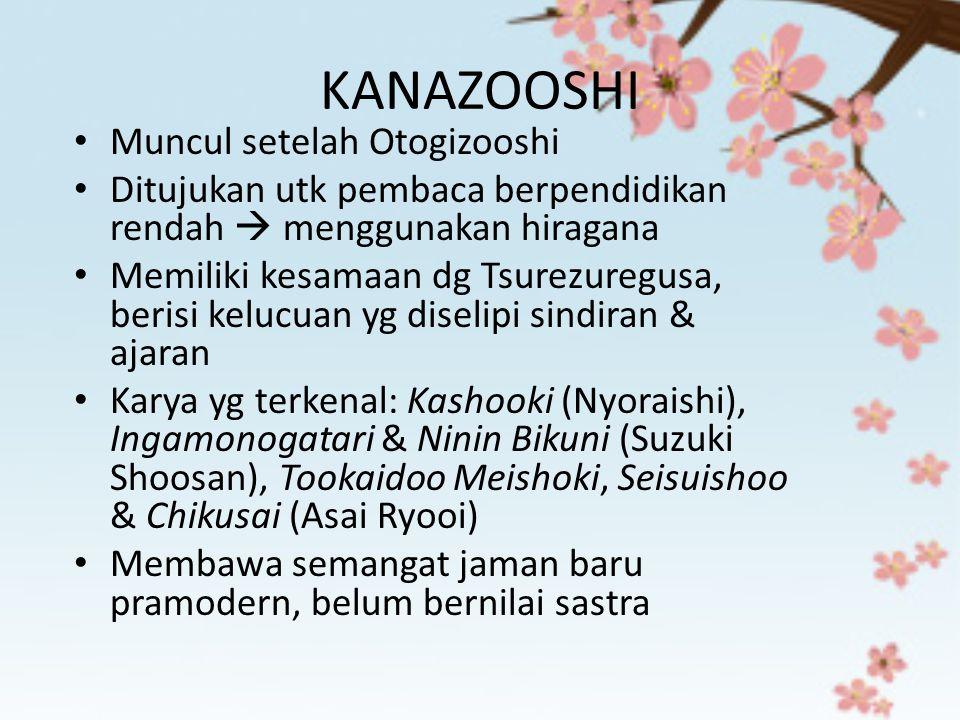 KANAZOOSHI Muncul setelah Otogizooshi Ditujukan utk pembaca berpendidikan rendah  menggunakan hiragana Memiliki kesamaan dg Tsurezuregusa, berisi kel
