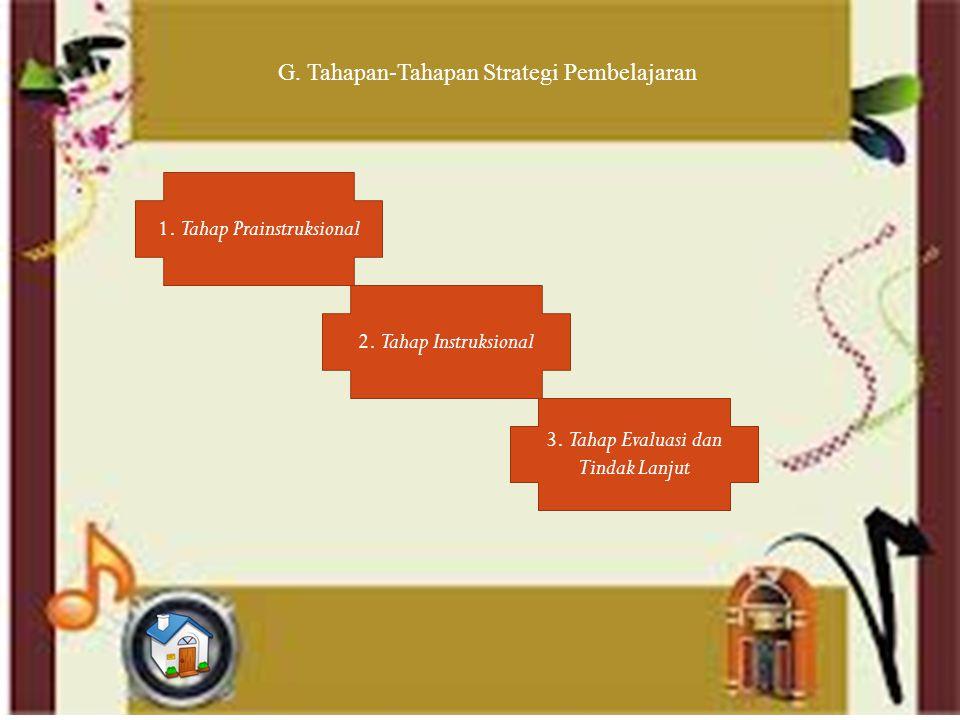 G. Tahapan-Tahapan Strategi Pembelajaran 1. Tahap Prainstruksional 2.