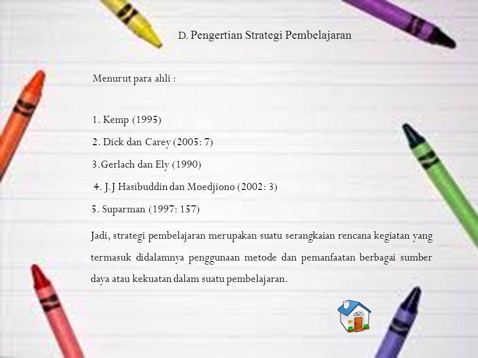 D. Pengertian Strategi Pembelajaran Menurut para ahli : 1.