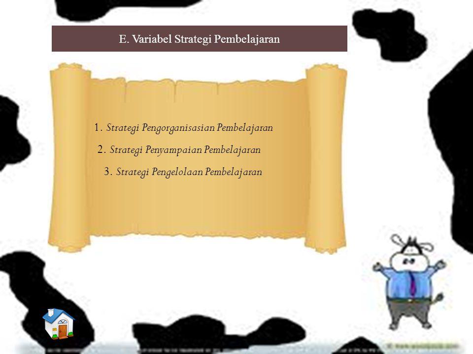 E. Variabel Strategi Pembelajaran 1. Strategi Pengorganisasian Pembelajaran 2. Strategi Penyampaian Pembelajaran 3. Strategi Pengelolaan Pembelajaran