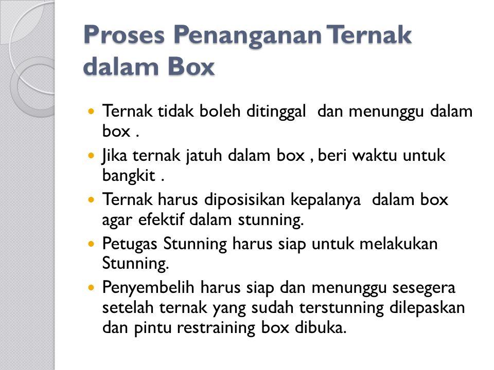 Proses Penanganan Ternak dalam Box Proses Penanganan Ternak dalam Box Ternak tidak boleh ditinggal dan menunggu dalam box. Jika ternak jatuh dalam box