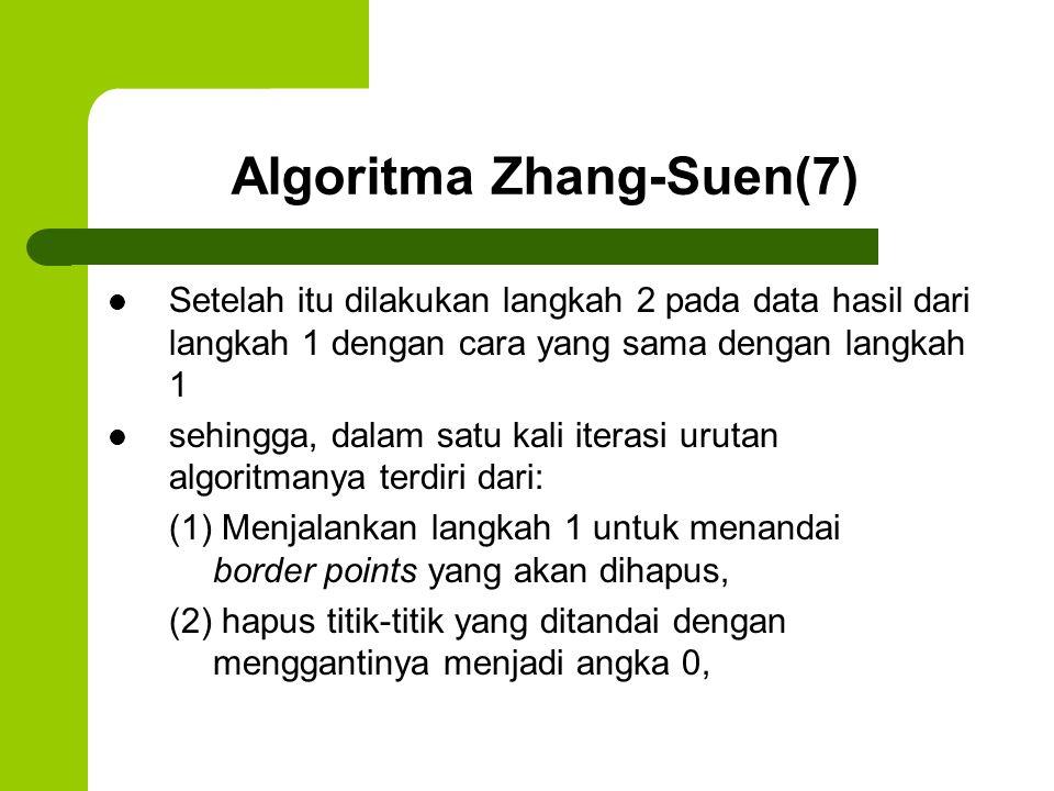 Algoritma Zhang-Suen(7) Setelah itu dilakukan langkah 2 pada data hasil dari langkah 1 dengan cara yang sama dengan langkah 1 sehingga, dalam satu kal