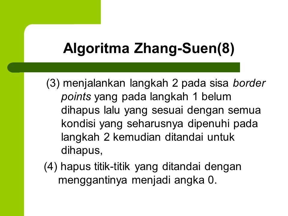 Algoritma Zhang-Suen(8) (3) menjalankan langkah 2 pada sisa border points yang pada langkah 1 belum dihapus lalu yang sesuai dengan semua kondisi yang