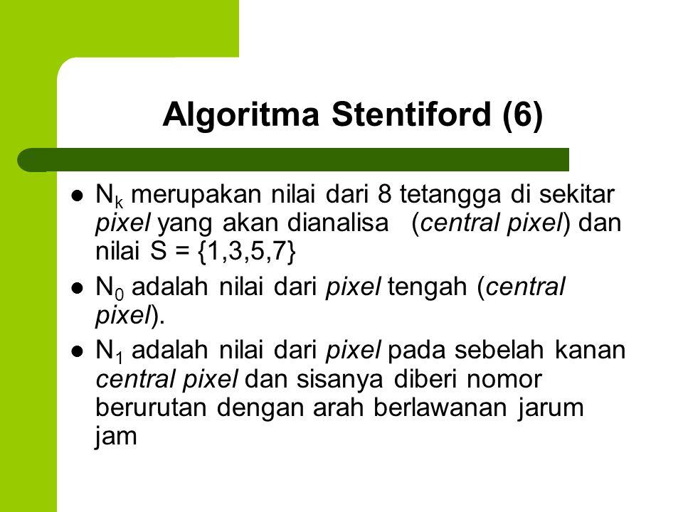 Algoritma Stentiford (6) N k merupakan nilai dari 8 tetangga di sekitar pixel yang akan dianalisa (central pixel) dan nilai S = {1,3,5,7} N 0 adalah n