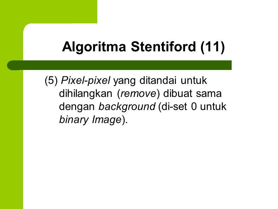 Algoritma Stentiford (11) (5) Pixel-pixel yang ditandai untuk dihilangkan (remove) dibuat sama dengan background (di-set 0 untuk binary Image).