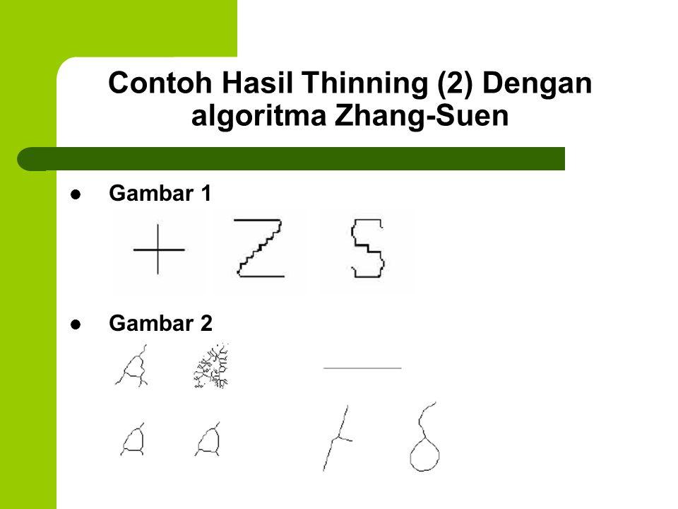 Contoh Hasil Thinning (2) Dengan algoritma Zhang-Suen Gambar 1 Gambar 2
