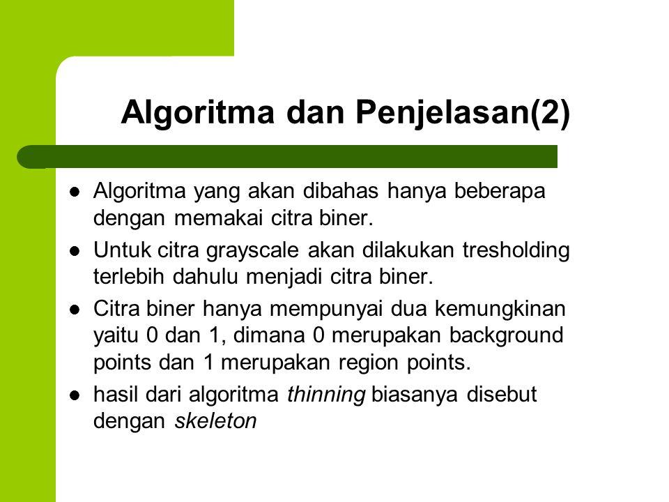 Algoritma dan Penjelasan(3) Umumnya suatu algoritma thinning yang dilakukan terhadap citra biner seharusnya memenuhi kriteria- kriteria sebagai berikut: – Skeleton dari citra kira-kira berada di bagian tengah dari citra awal sebelum dilakukan thinning.