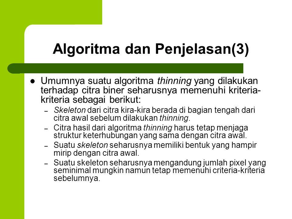Algoritma dan Penjelasan(3) Umumnya suatu algoritma thinning yang dilakukan terhadap citra biner seharusnya memenuhi kriteria- kriteria sebagai beriku