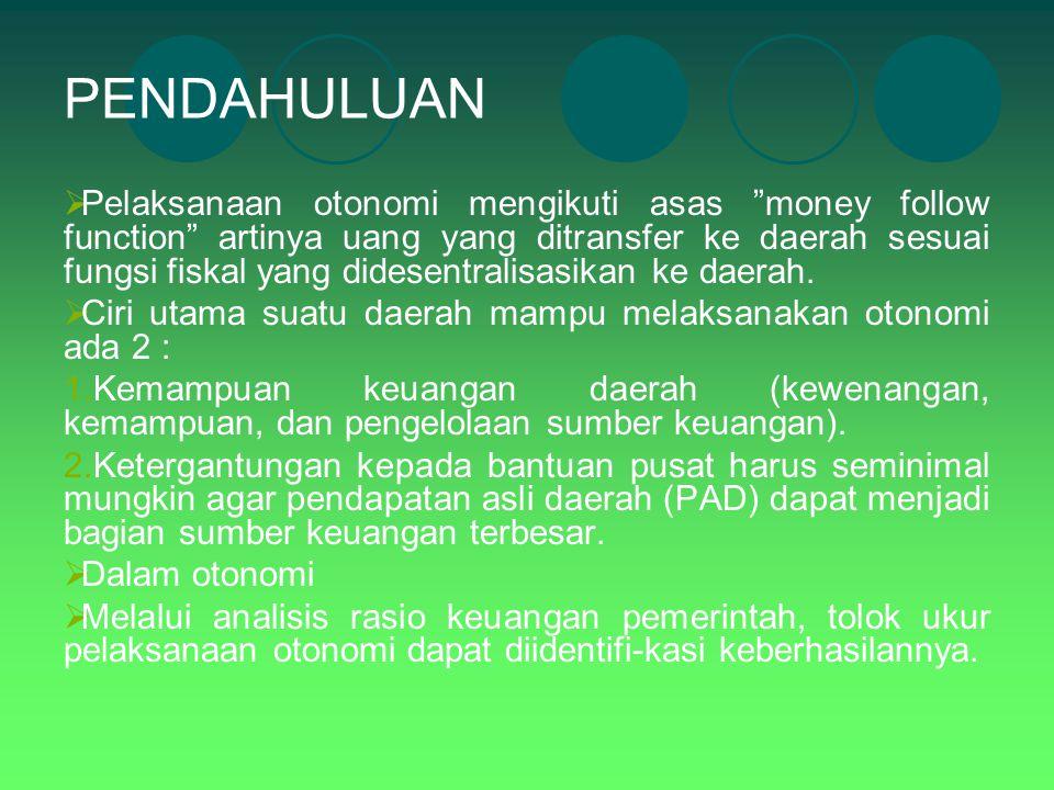 """PENDAHULUAN  Pelaksanaan otonomi mengikuti asas """"money follow function"""" artinya uang yang ditransfer ke daerah sesuai fungsi fiskal yang didesentrali"""