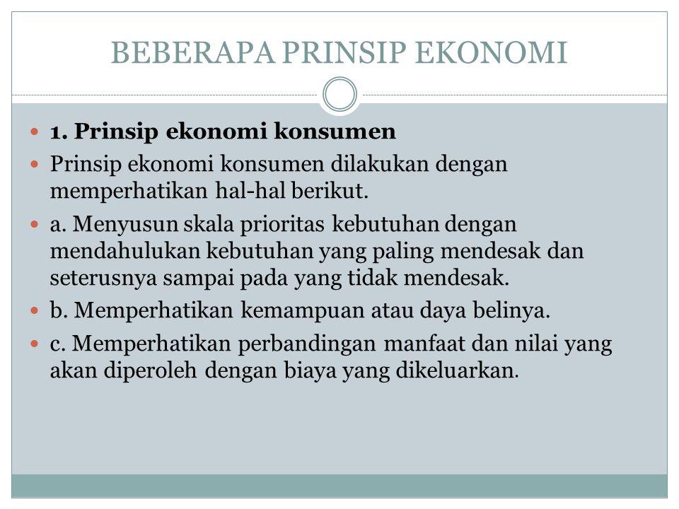 BEBERAPA PRINSIP EKONOMI 1. Prinsip ekonomi konsumen Prinsip ekonomi konsumen dilakukan dengan memperhatikan hal-hal berikut. a. Menyusun skala priori