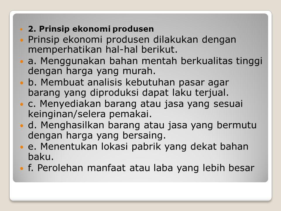 2. Prinsip ekonomi produsen Prinsip ekonomi produsen dilakukan dengan memperhatikan hal-hal berikut. a. Menggunakan bahan mentah berkualitas tinggi de