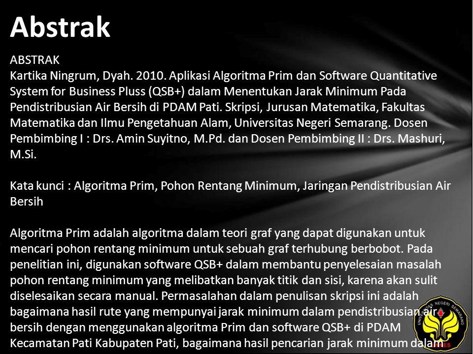 Kata Kunci Algoritma Prim, Pohon Rentang Minimum, Jaringan Pendistribusian Air Bersih