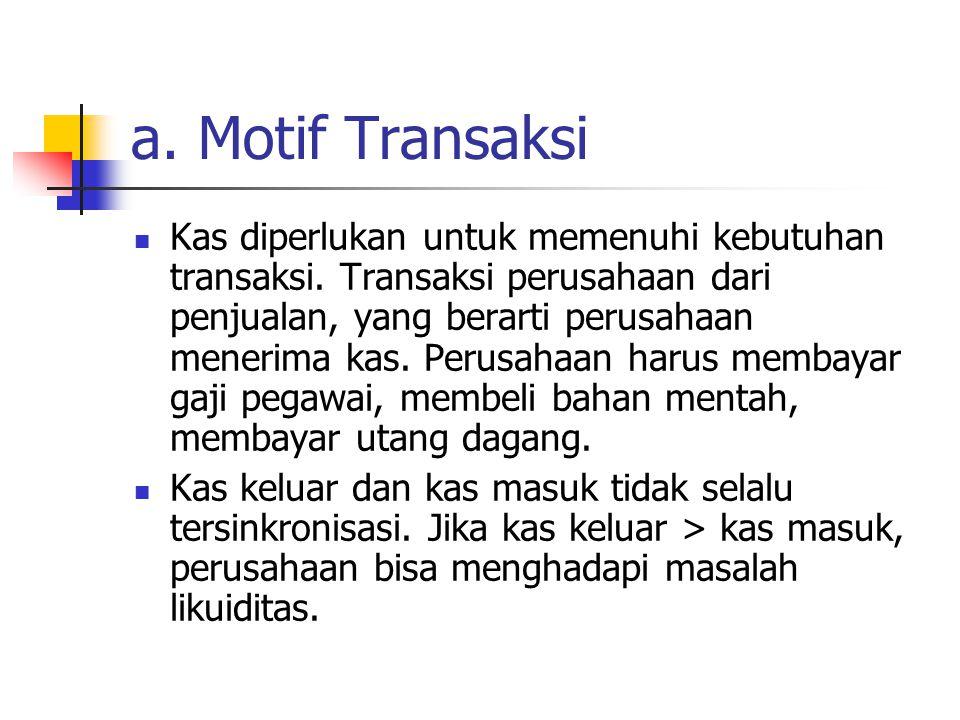 a. Motif Transaksi Kas diperlukan untuk memenuhi kebutuhan transaksi. Transaksi perusahaan dari penjualan, yang berarti perusahaan menerima kas. Perus
