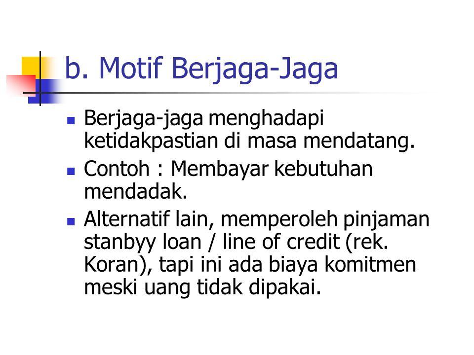 b.Motif Berjaga-Jaga Berjaga-jaga menghadapi ketidakpastian di masa mendatang.