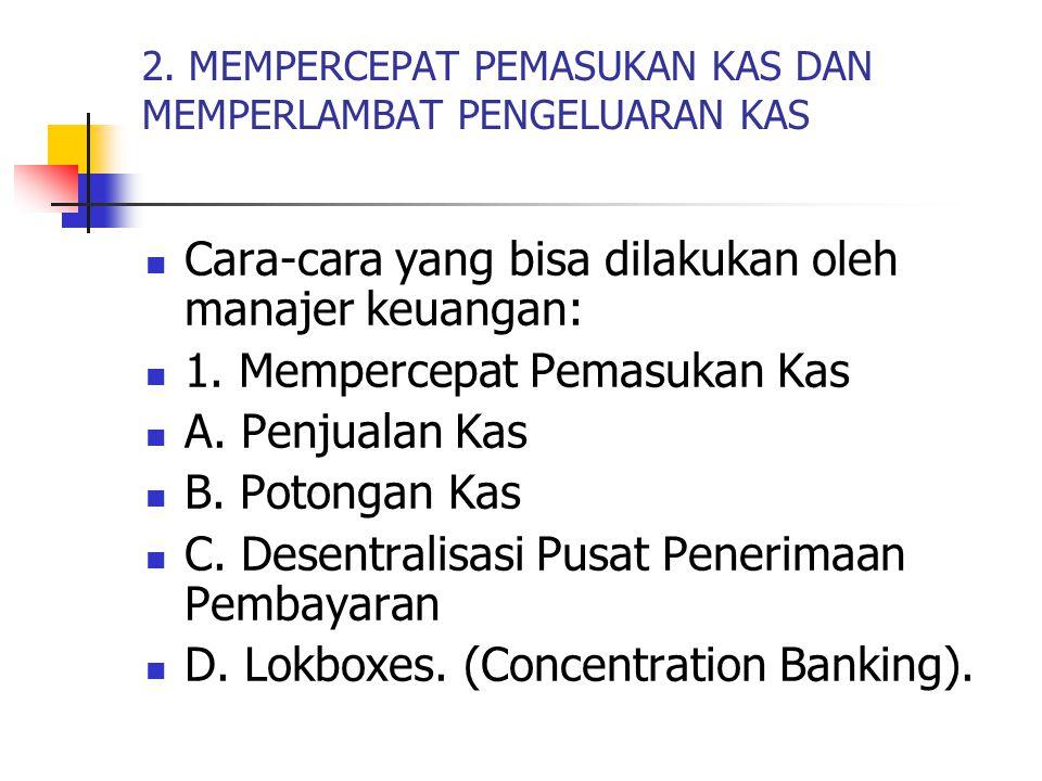 2. MEMPERCEPAT PEMASUKAN KAS DAN MEMPERLAMBAT PENGELUARAN KAS Cara-cara yang bisa dilakukan oleh manajer keuangan: 1. Mempercepat Pemasukan Kas A. Pen