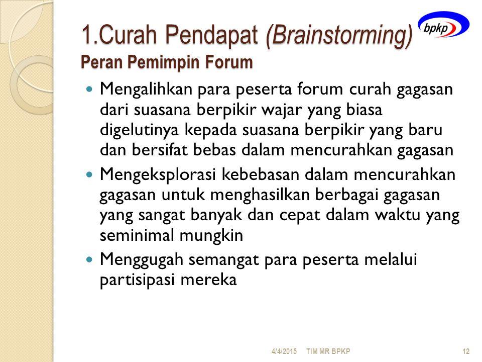 1.Curah Pendapat (Brainstorming) Peran Pemimpin Forum Mengalihkan para peserta forum curah gagasan dari suasana berpikir wajar yang biasa digelutinya kepada suasana berpikir yang baru dan bersifat bebas dalam mencurahkan gagasan Mengeksplorasi kebebasan dalam mencurahkan gagasan untuk menghasilkan berbagai gagasan yang sangat banyak dan cepat dalam waktu yang seminimal mungkin Menggugah semangat para peserta melalui partisipasi mereka 4/4/2015TIM MR BPKP12