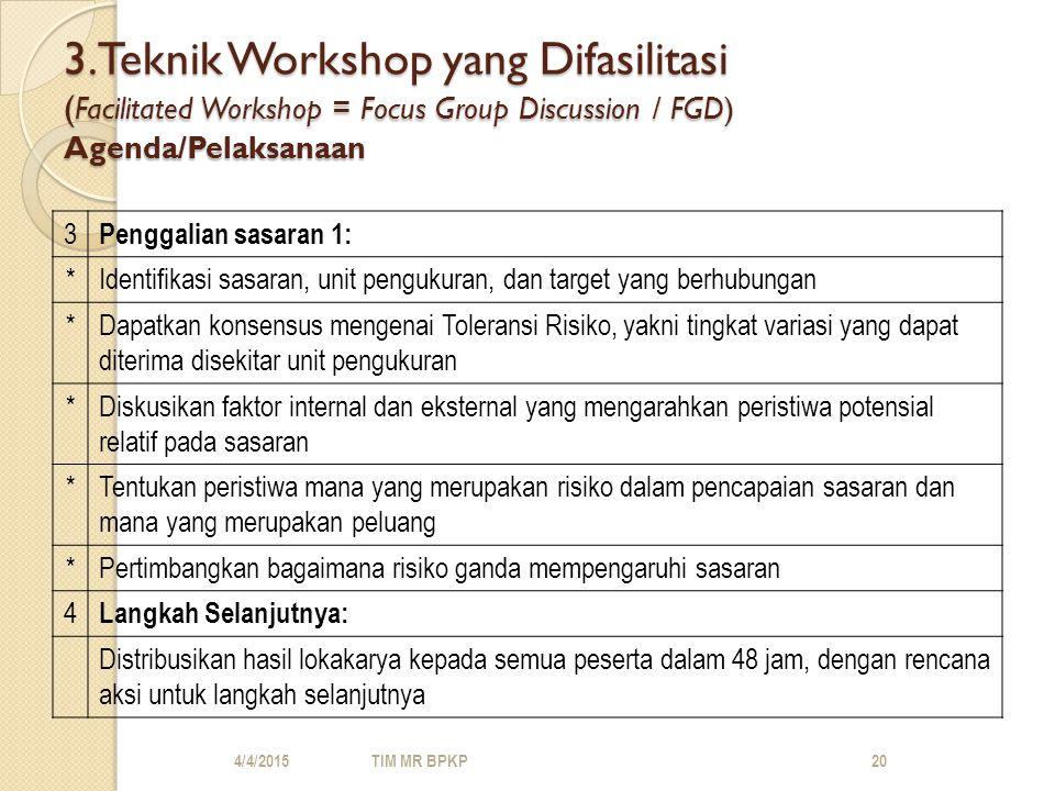 3.Teknik Workshop yang Difasilitasi ( Facilitated Workshop = Focus Group Discussion / FGD) Agenda/Pelaksanaan 3 Penggalian sasaran 1: *Identifikasi sasaran, unit pengukuran, dan target yang berhubungan *Dapatkan konsensus mengenai Toleransi Risiko, yakni tingkat variasi yang dapat diterima disekitar unit pengukuran *Diskusikan faktor internal dan eksternal yang mengarahkan peristiwa potensial relatif pada sasaran *Tentukan peristiwa mana yang merupakan risiko dalam pencapaian sasaran dan mana yang merupakan peluang *Pertimbangkan bagaimana risiko ganda mempengaruhi sasaran 4 Langkah Selanjutnya: Distribusikan hasil lokakarya kepada semua peserta dalam 48 jam, dengan rencana aksi untuk langkah selanjutnya 4/4/2015TIM MR BPKP20