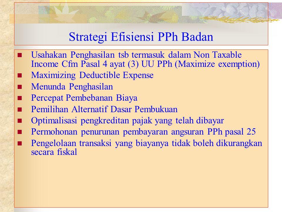 Strategi Efisiensi PPh Badan Usahakan Penghasilan tsb termasuk dalam Non Taxable Income Cfm Pasal 4 ayat (3) UU PPh (Maximize exemption) Maximizing De