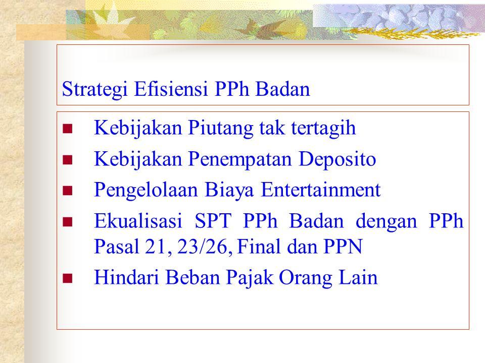 Strategi Efisiensi PPh Badan Kebijakan Piutang tak tertagih Kebijakan Penempatan Deposito Pengelolaan Biaya Entertainment Ekualisasi SPT PPh Badan den