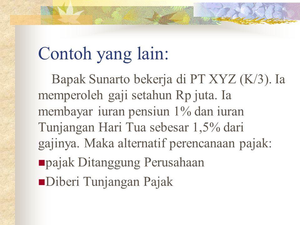 Contoh yang lain: Bapak Sunarto bekerja di PT XYZ (K/3). Ia memperoleh gaji setahun Rp juta. Ia membayar iuran pensiun 1% dan iuran Tunjangan Hari Tua