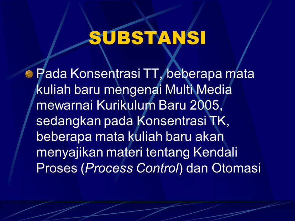SUBSTANSI Pada Konsentrasi TT, beberapa mata kuliah baru mengenai Multi Media mewarnai Kurikulum Baru 2005, sedangkan pada Konsentrasi TK, beberapa mata kuliah baru akan menyajikan materi tentang Kendali Proses (Process Control) dan Otomasi