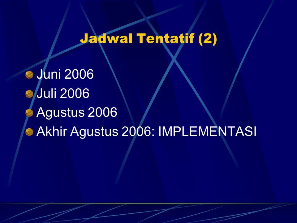 Jadwal Tentatif (2) Juni 2006 Juli 2006 Agustus 2006 Akhir Agustus 2006: IMPLEMENTASI