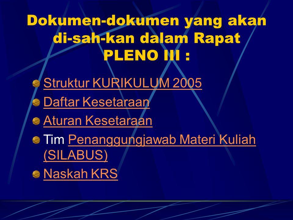 Dokumen-dokumen yang akan di-sah-kan dalam Rapat PLENO III : Struktur KURIKULUM 2005 Daftar Kesetaraan Aturan Kesetaraan Tim Penanggungjawab Materi Kuliah (SILABUS)Penanggungjawab Materi Kuliah (SILABUS) Naskah KRS