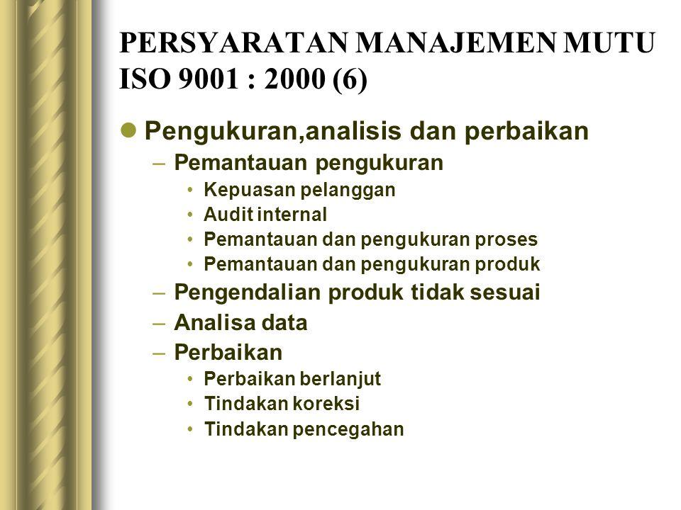 PERSYARATAN MANAJEMEN MUTU ISO 9001 : 2000 (6) Pengukuran,analisis dan perbaikan –Pemantauan pengukuran Kepuasan pelanggan Audit internal Pemantauan dan pengukuran proses Pemantauan dan pengukuran produk –Pengendalian produk tidak sesuai –Analisa data –Perbaikan Perbaikan berlanjut Tindakan koreksi Tindakan pencegahan