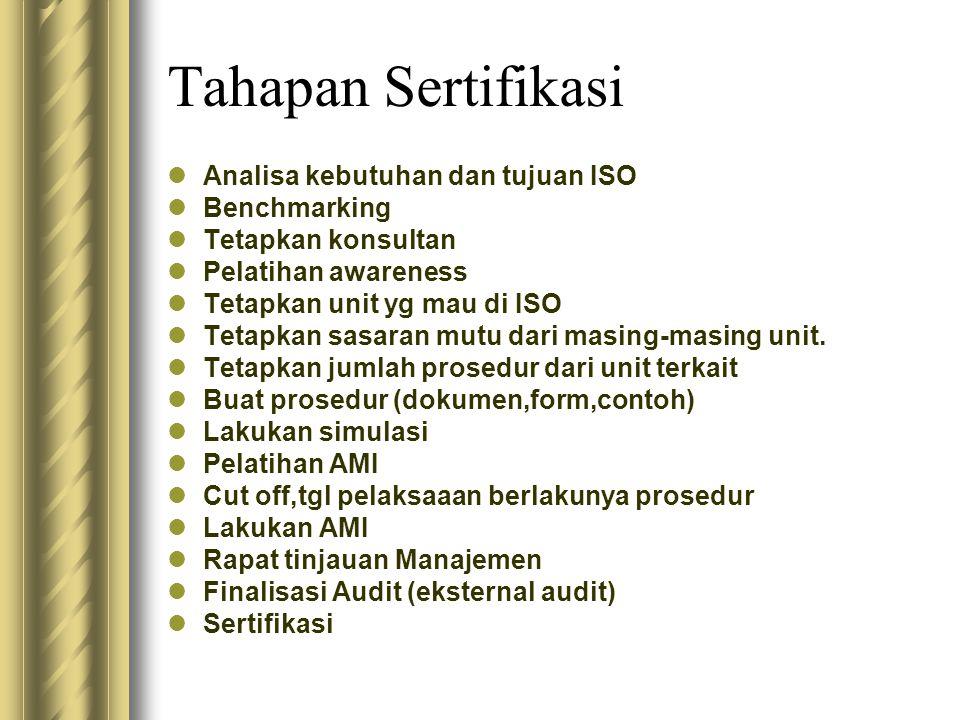 Tahapan Sertifikasi Analisa kebutuhan dan tujuan ISO Benchmarking Tetapkan konsultan Pelatihan awareness Tetapkan unit yg mau di ISO Tetapkan sasaran mutu dari masing-masing unit.
