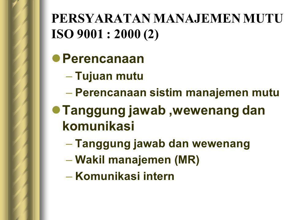 PERSYARATAN MANAJEMEN MUTU ISO 9001 : 2000 (2) Perencanaan –Tujuan mutu –Perencanaan sistim manajemen mutu Tanggung jawab,wewenang dan komunikasi –Tan