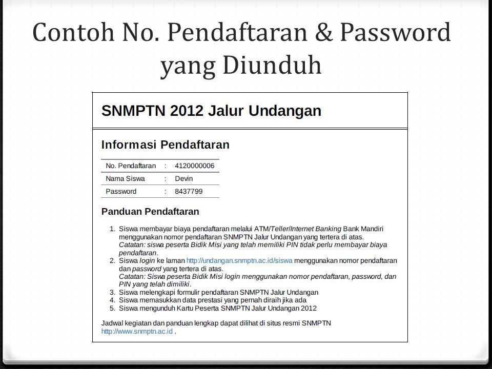 Contoh No. Pendaftaran & Password yang Diunduh