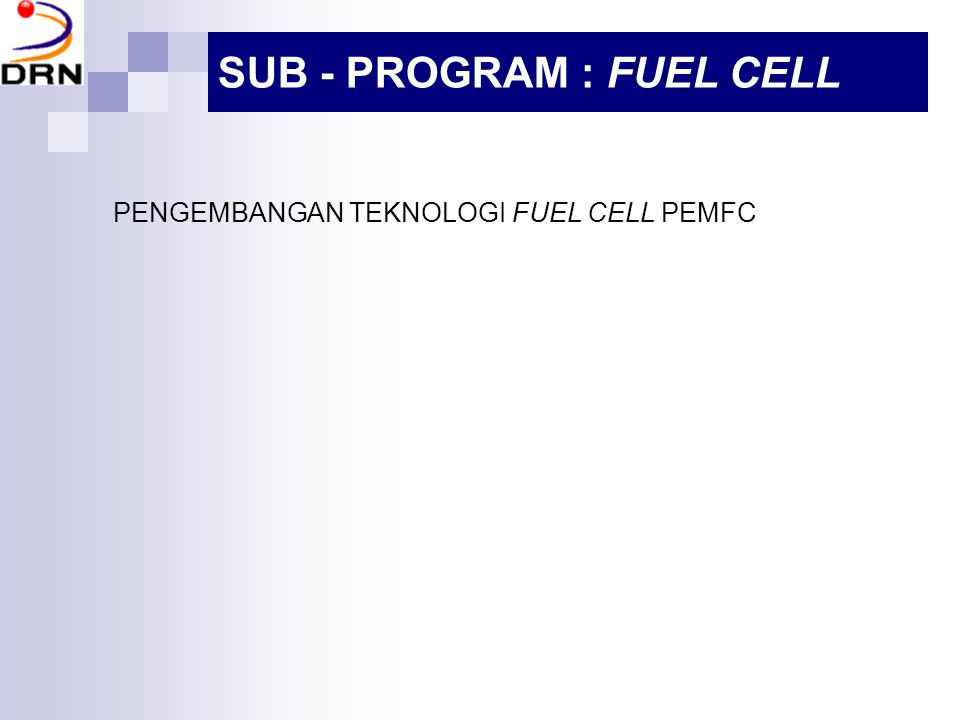 PENGEMBANGAN TEKNOLOGI FUEL CELL PEMFC SUB - PROGRAM : FUEL CELL