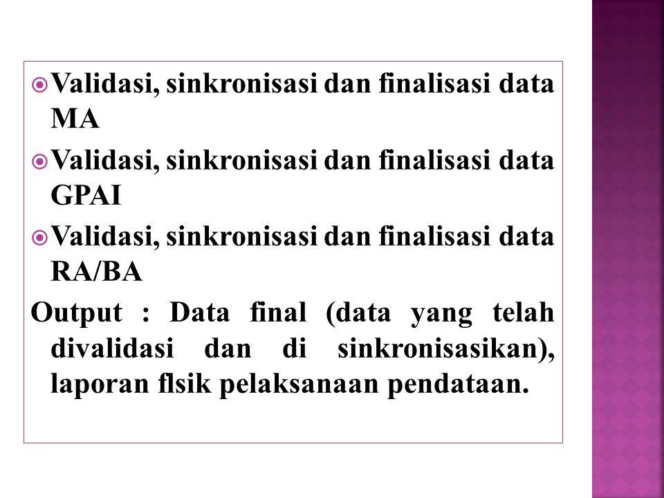  Validasi, sinkronisasi dan finalisasi data MA  Validasi, sinkronisasi dan finalisasi data GPAI  Validasi, sinkronisasi dan finalisasi data RA/BA O