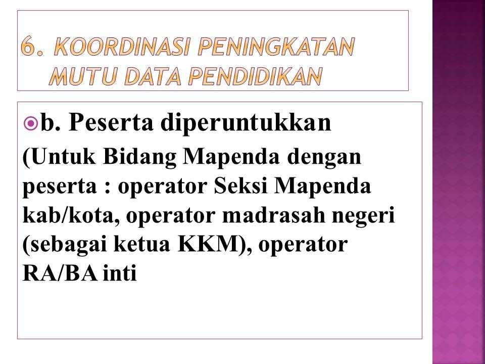  b. Peserta diperuntukkan (Untuk Bidang Mapenda dengan peserta : operator Seksi Mapenda kab/kota, operator madrasah negeri (sebagai ketua KKM), opera