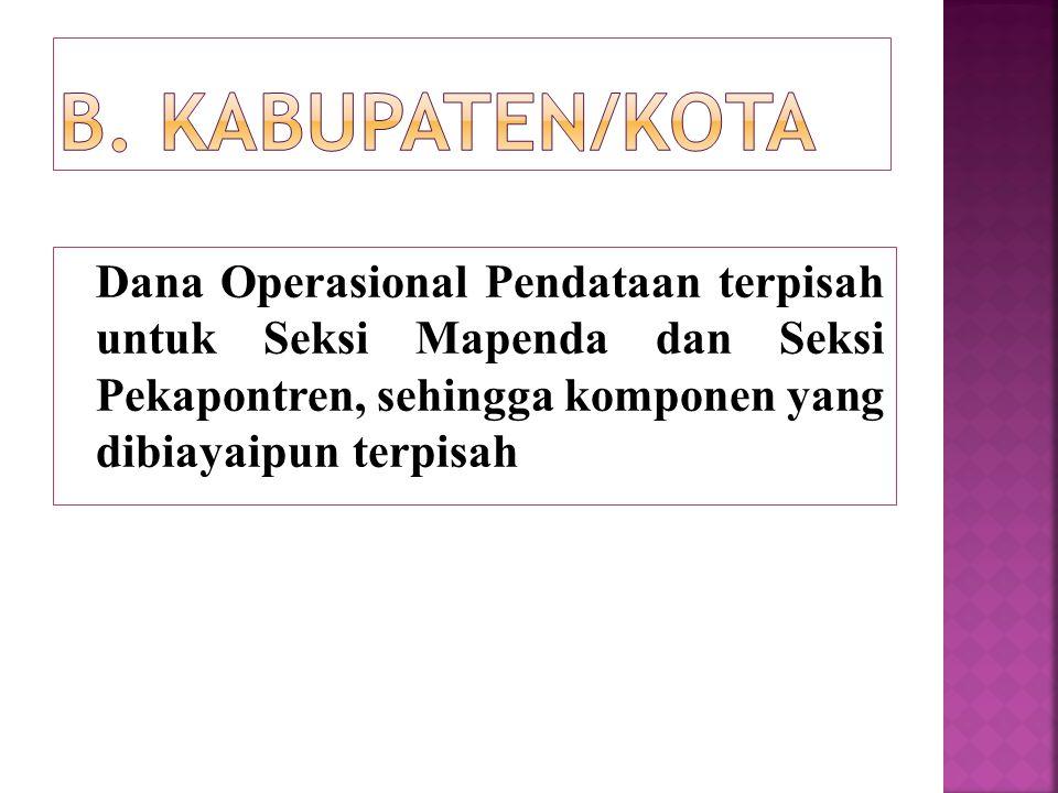 Dana Operasional Pendataan terpisah untuk Seksi Mapenda dan Seksi Pekapontren, sehingga komponen yang dibiayaipun terpisah