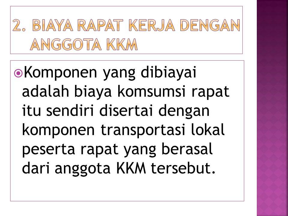  Komponen yang dibiayai adalah biaya komsumsi rapat itu sendiri disertai dengan komponen transportasi lokal peserta rapat yang berasal dari anggota K