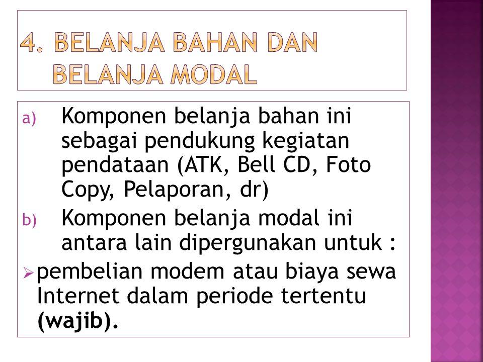 a) Komponen belanja bahan ini sebagai pendukung kegiatan pendataan (ATK, Bell CD, Foto Copy, Pelaporan, dr) b) Komponen belanja modal ini antara lain
