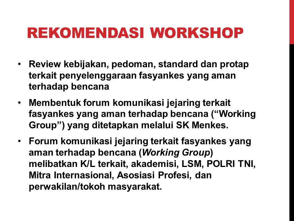 TINDAK LANJUT HASIL REKOMENDASI Melanjutkan proses penyusunan draft pedoman dengan proses untuk menjadi Peraturan Presiden Menyelenggarakan workshop untuk pembentukan Forum komunikasi, bekerja sama dengan World Bank (18 Juni 2014).