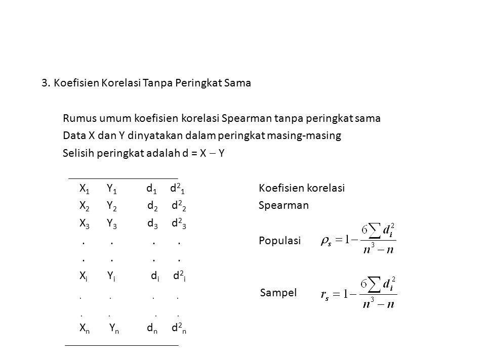 3. Koefisien Korelasi Tanpa Peringkat Sama Rumus umum koefisien korelasi Spearman tanpa peringkat sama Data X dan Y dinyatakan dalam peringkat masing-