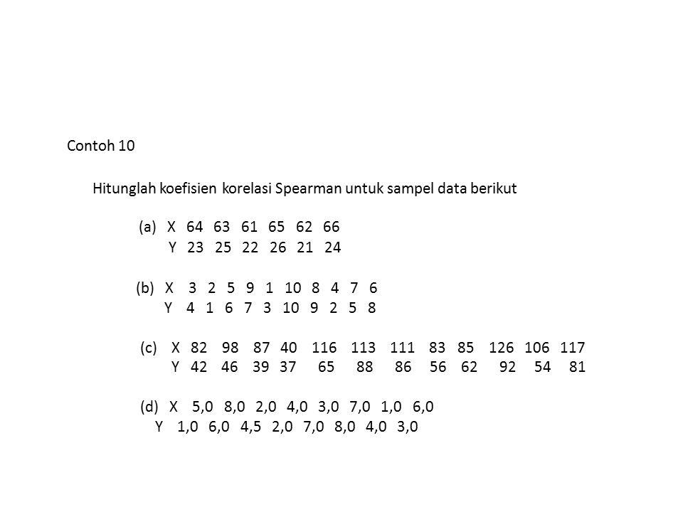Contoh 10 Hitunglah koefisien korelasi Spearman untuk sampel data berikut (a) X 64 63 61 65 62 66 Y 23 25 22 26 21 24 (b) X 3 2 5 9 1 10 8 4 7 6 Y 4 1