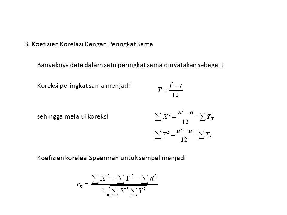 3. Koefisien Korelasi Dengan Peringkat Sama Banyaknya data dalam satu peringkat sama dinyatakan sebagai t Koreksi peringkat sama menjadi sehingga mela