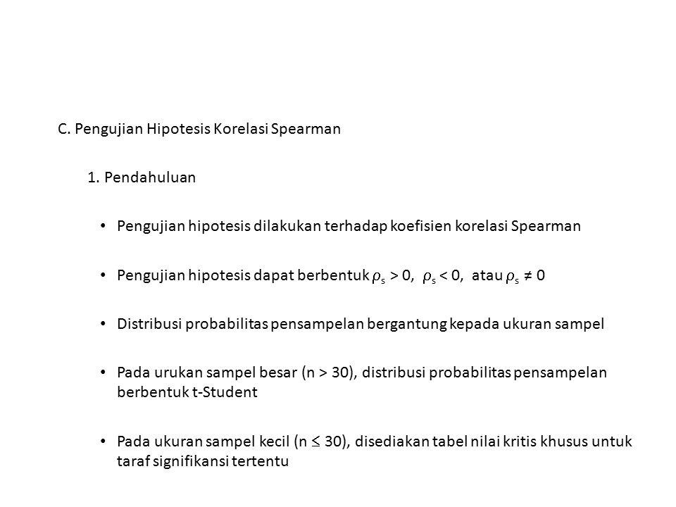 C. Pengujian Hipotesis Korelasi Spearman 1. Pendahuluan Pengujian hipotesis dilakukan terhadap koefisien korelasi Spearman Pengujian hipotesis dapat b