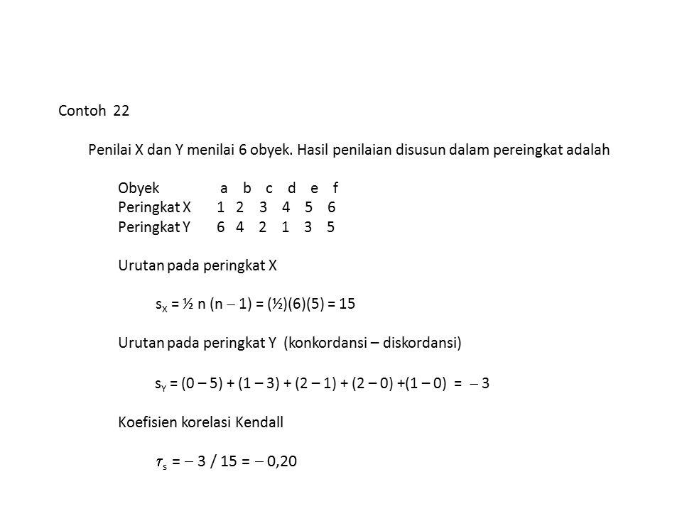 Contoh 22 Penilai X dan Y menilai 6 obyek. Hasil penilaian disusun dalam pereingkat adalah Obyek a b c d e f Peringkat X 1 2 3 4 5 6 Peringkat Y 6 4 2