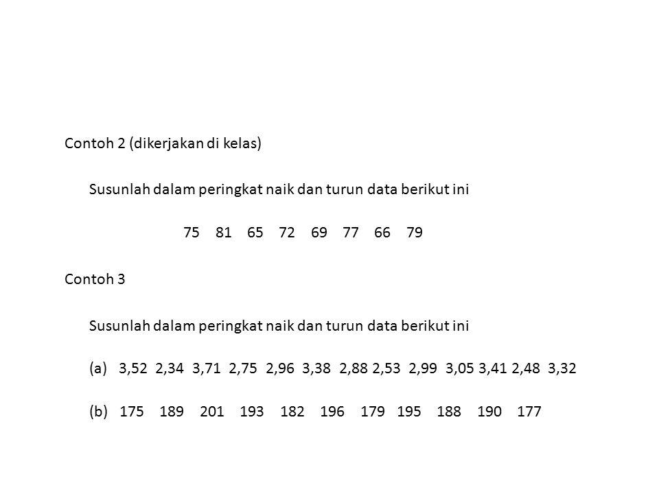 Contoh 2 (dikerjakan di kelas) Susunlah dalam peringkat naik dan turun data berikut ini 75 81 65 72 69 77 66 79 Contoh 3 Susunlah dalam peringkat naik
