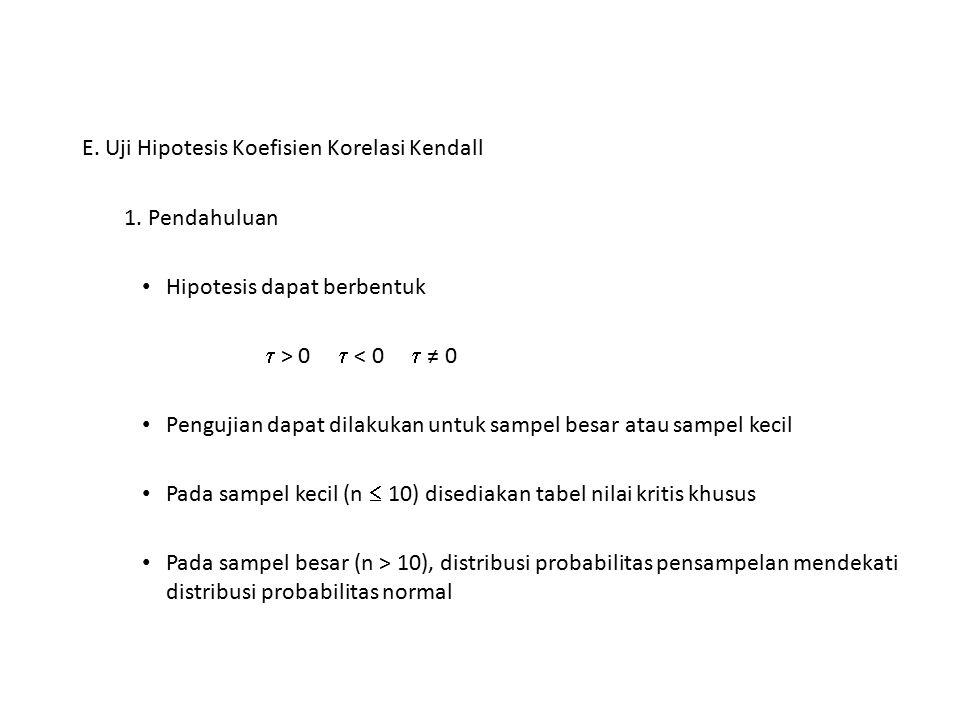 E. Uji Hipotesis Koefisien Korelasi Kendall 1. Pendahuluan Hipotesis dapat berbentuk  > 0  < 0  ≠ 0 Pengujian dapat dilakukan untuk sampel besar at