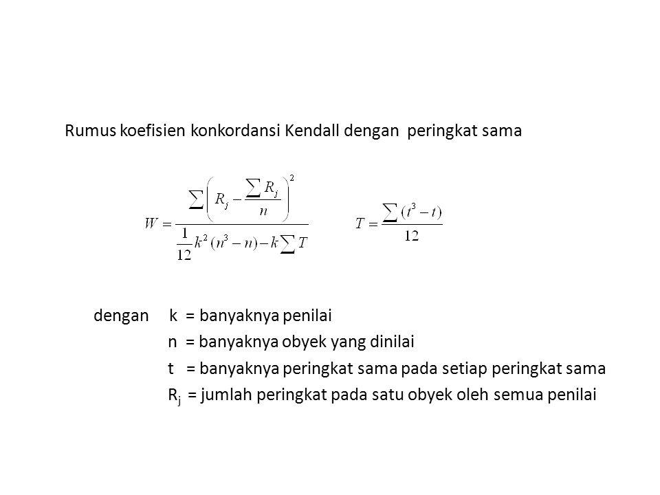 Rumus koefisien konkordansi Kendall dengan peringkat sama dengan k = banyaknya penilai n = banyaknya obyek yang dinilai t = banyaknya peringkat sama p